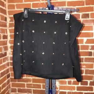 Studded Suede Skirt